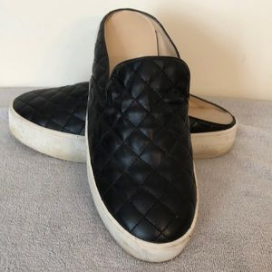 B.P. Black Quilted slip on mules size 10.